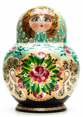 190 mm Mint Green Russian Patterns hand painted Wooden Matryoshka 20 pcs (by Elena Kudryashova)