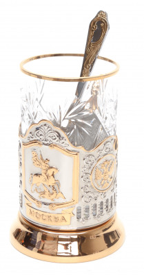 Snt George Gold Plated Brass Tea Glass Holder with Crystal Glass and Gold Plated Tea Spoon (by Kolchugino)