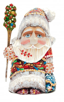 110 mm Santa Claus in a Magic Cap hand carved and painted wooden statue (by Natalia Workshop)