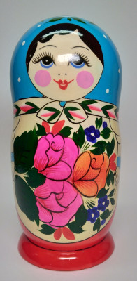 205 mm Blue Head Semenovskaya handpainted wooden Matryoshka Doll 8 pcs (by Ivan Studio)