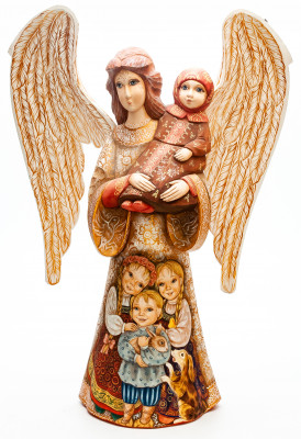 340 mm Mother Angel with Children hand painted wooden figurine (by Polar Bear Studio)