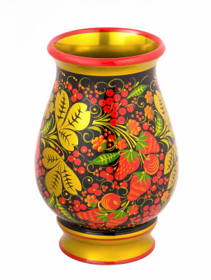 180x120 mm Khokhloma hand painted wooden Vase (by Golden Khokhloma)