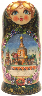 190 mm Moscow Snt Basil Cathedral Zhostovo matryoshka doll 5 pcs