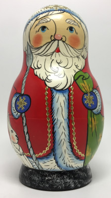 130 mm Santa Claus and Snowmaiden Princess hand painted wooden Matryoshka Doll 5 pcs (by Malutin Studio)