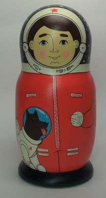 160 mm Spaceman author's hand painted Traditional Russian Wooden Matryoshka doll 5 pcs (by Igor Malyutin)