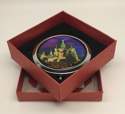 Compact Mirror with Night St.Basil Cathedral
