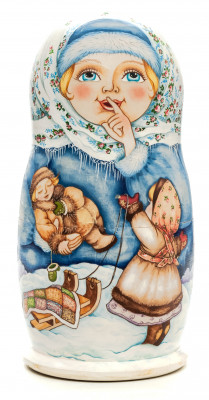 180 mm Kids playing in the Snow hand painted on wooden Matryoshka doll 5pcs (by Alexander Famous Paintings Studio)