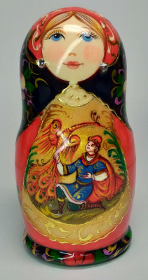 110 mm Firebird hand painted on wooden Matryoshka doll 5 pcs (by A Studio)