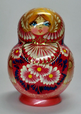 120mm Daisies Hand Painted Wooden Matryoshka doll 15 pcs (by Valentina Dolls)
