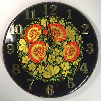 250mm Golden Khokhloma hand painted Wooden Wall Clock (by Semino Wooden Crafts)