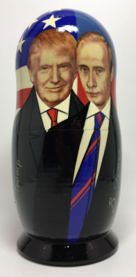 180 mm Putin & Trump and  Clinton & Yeltsin Gorbatchev & Reigan Matryoshka Doll 5 pcs (by 3A Studio)