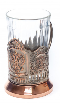 State Emblem of Russia Pure Copper Tea Glass Holder (by Kolchugino)