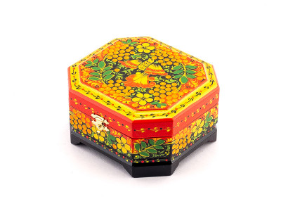 Khokhloma Painting Jewellery Wooden Box 120x110mm