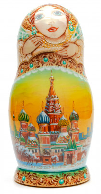 220 mm Moscow Saint Basil Cathedral hand painted Wooden Matryoshka doll 7 pcs (by A Studio)