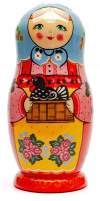 250 mm Mama with the Black Cockerel hand painted Wooden Matryoshka doll 7 pcs (by Golden Cockerel Studio)
