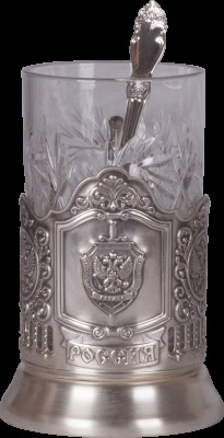 The symbol of KGB USSR Silver Plated Brass Tea Glass Holder with Faceted Glass and Silver Plated Spoon (by Kolchugino)