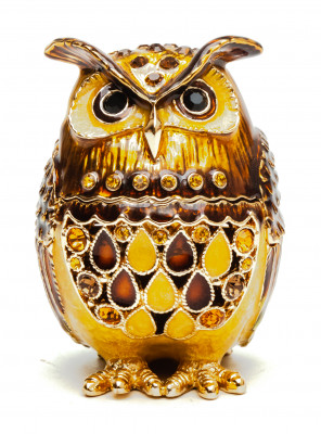 60 mm Owl with the Rhinestones Brown Jewellery Box
