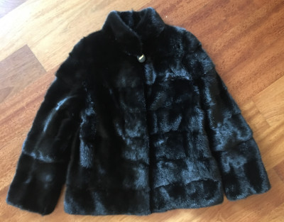 70x120 Black color Mink Coat