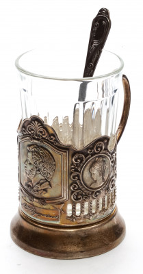 Pushkin Silver Plated Brass Tea Glass Holder with Faceted Glass (by Kolchugino)