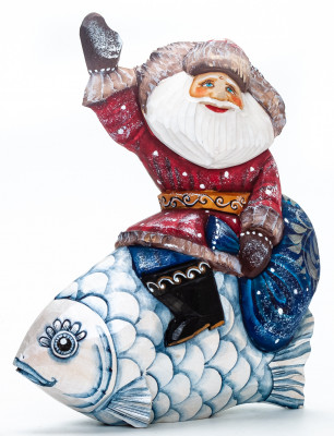 150 mm Santa with a Bag Riding the Fish handpainted Wooden Carved Statue (by Igor Carved Wooden Figures Studio)