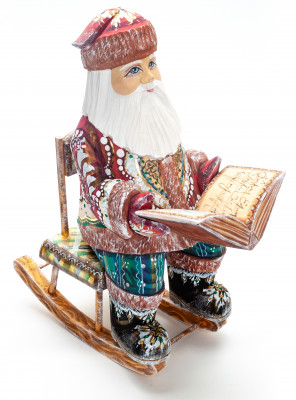 270 mm Santa Claus in a Rocking Chair with a Book handpainted Wooden Carved Statue (by Igor Carved Wooden Figures Studio)