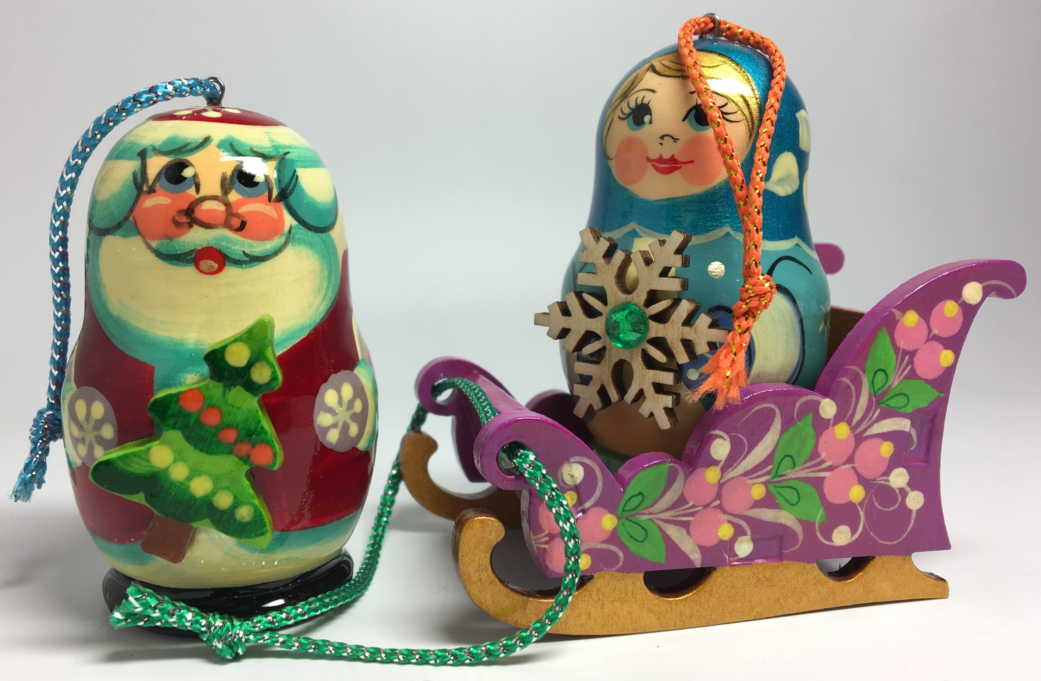130x80 mm Santa Clause and Snowmaiden on Sladges hand Carved and Painted Christmas Tree Ornaments Set of 3 pcs in a Gift Box (by Andrey Studio)
