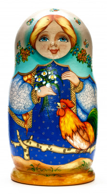 180 mm Beautiful Flowers hand painted wooden Russian Matryoshka doll 5 pcs (by Alexander Studio)
