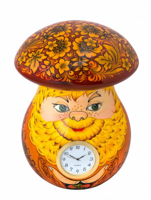 220x160mm The Mushroom hand painted wooden Table Clocks (by Golden Khokhloma)