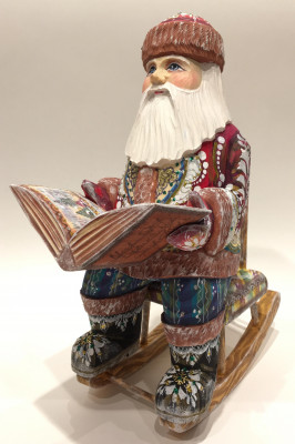 Hand Carved and Painted Santa Claus Reading a Book