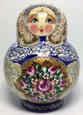 190 mm Navy Blue Russian Patterns hand painted Wooden Matryoshka 20 pcs (by Elena Kudryashova)