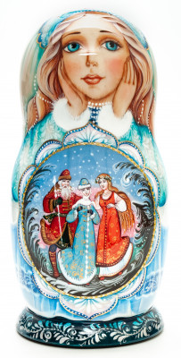 220 mm Snow Maiden Princess hand painted on wooden Matryoshka doll 7pcs (by A Studio)