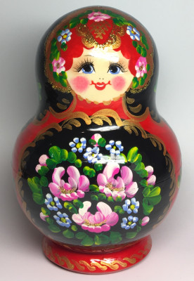 140 mm Flowers Patters hand painted Wooden Matryoshka Doll 10 pcs (by Elena Matreshka)
