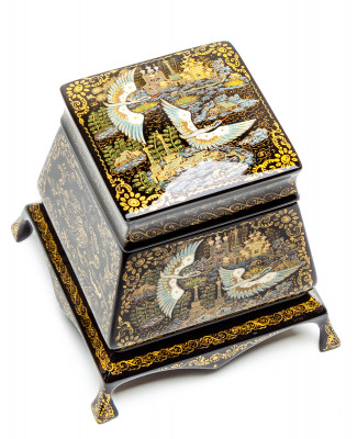 110x100mm Russian North Hand Painted Jewellery Box (by Sadko Workshop)