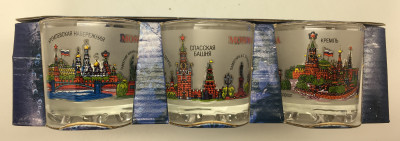 50 ml Moscow Views Colorful Decal Shot Glass set of 6 pcs (by AKM Gifts)