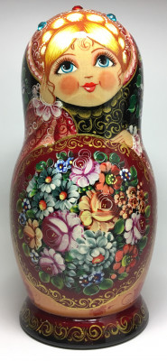 240 mm Zhostovo Patterns hand painted wooden Russian Matryoshka doll 5 pcs (by Olga Collection)