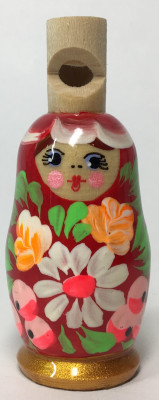 72 mm Russian Matryoshka hand painted Wooden Whistle (by Maya)