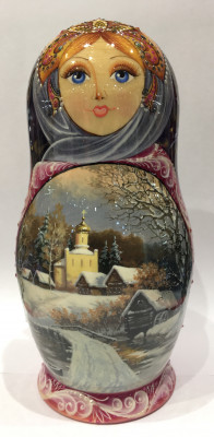 Winter Landscape Matryoshka Doll 5pcs