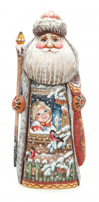 190 mm Santa with a Magic Staff and a Bag with handpainted Children Wooden Carved Statue (by Karpova Nadezhda Studio)
