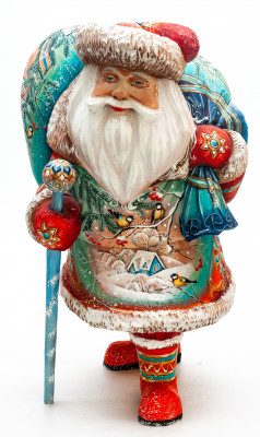 300 mm Santa with a Magic Staff and a Bag with handpainted Bullfinches Wooden Carved Statue (by Igor Carved Wooden Figures Studio)
