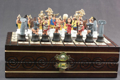 Asterix & Obelix Wooden Chess Board with Tin Soldiers Hand Painted Chess Pieces