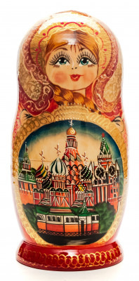 200mm Moscow Saint Basil Cathedral hand painted Matryoshka round Doll 7pcs (by Golden Cockerel)