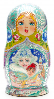 200 mm The Snow Queen hand painted on Wooden Matryoshka doll 7 pcs (by Valeria Crafts)