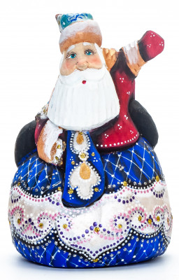 120 mm Santa on a Bag Carved Wood Hand Painted Collectible Figurine (by Igor Carved Wooden Figures Studio)