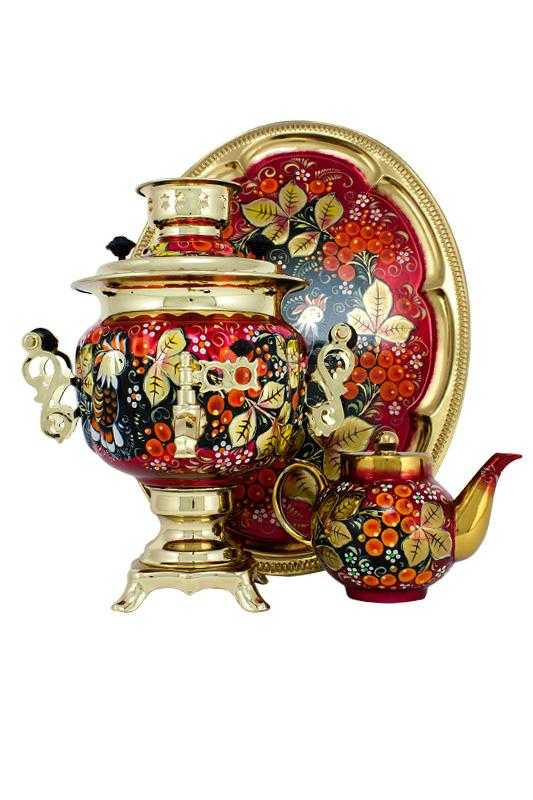 Rooster and Rowan Hand Painted Electric Samovar Kettlewith Teapot and Tray