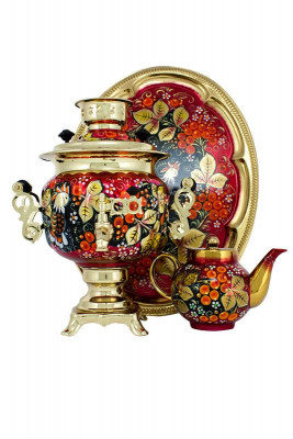 Rooster and Rowan Hand Painted Electric Samovar Kettle with Teapot and Tray