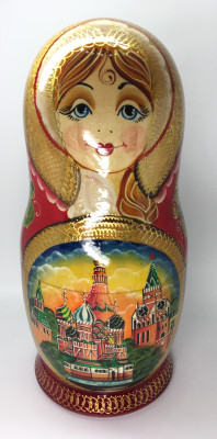 350 mm Russian Fairy Tale hand painted wooden Matryoshka Nesting Doll 15 pcs (by Valery Studio)