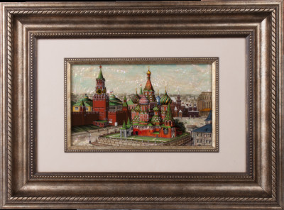 Moscow Kremlin. Fedoskino mother-of-pearl painting