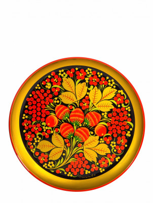 210x21 Strawberries hand Painted Wooden Wall Tray (by Golden Khokhloma)