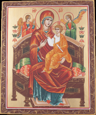 Godmother handpainted wooden Icon in a metal frame (by Galina Studio)
