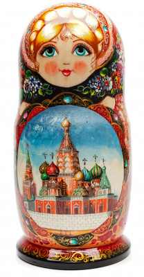 250 mm Moscow Kremlin and Snt Basil Cathedral hand painted Matryoshka 10 pcs with Zhostovo ornaments (by Olga Zaitseva)